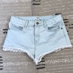 Forever 21 Laced Light Denim Shorts
